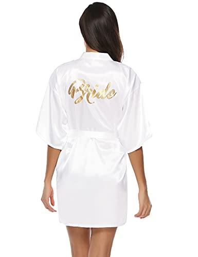 NC Kimono Bata Mujer para Satén,Bata Mujer Sexy 100% Poliéster Bata Mujer Saten Kimono Dama de Honor con Cinturilla,Kimono Mujer Verano de Brillante(Blanco-novia ,L