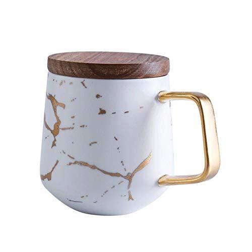 Wlijun Taza De Café, Taza De Oficina De Cerámica De 260/360 Ml, Taza Y Platillo De Café Simple con Borde Dorado De Estilo Europeo, Tazas Reutilizables para El Hogar (White,360ml)