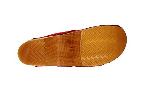 Sanita Hedi | Zuecos Abiertos | Producto Artesanal Original para Mujer | Zuecos de Piel con Suela de Madera | Naranja Coral | 39 EU