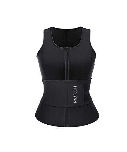HOPLYNN Neoprene Sauna Sweat Waist Trainer Vest for Weight Loss with Zipper for Women L