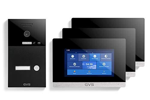 GVS AVS1237A - Videoportero IP de 4 cables, estación de puerta IP65, monitor de 3 x 7 pulgadas, aplicación HD, cámara de 120 °, función de apertura de puerta, 32 GB de memoria, conmutador PoE, 1 juego de casa familiar