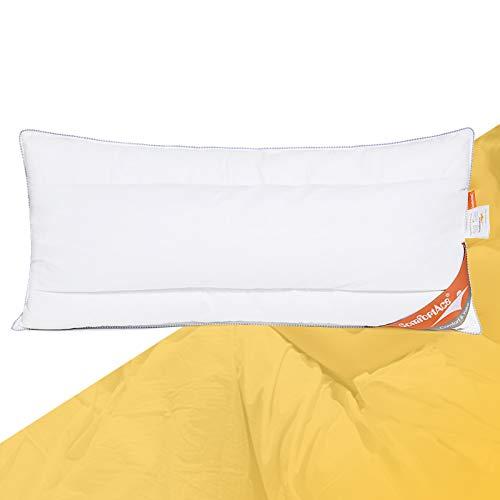 ComfortAce® Strauss 40x80 cm Kopfkissen Federkissen/Daunenkissen Hochwertiges Kissen mit 100% Baumwollebezug mit Gänsedaunen Füllung Soft und Stützend,Anti-Milben Waschbar,Weiß MEHRWEG