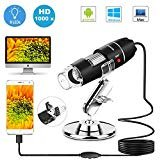 USB Microscope 8 LED USB 2.0 Digital Microscope, 40 to 1000x Magnification Endoscope Mini Camera with OTG Adapter and Metal Stand, Compatible with Mac Window 7 8 10 Android Linux by Sunnywoo