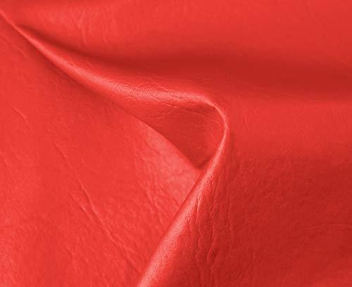 HAPPERS 0,50 Metros de Polipiel para tapizar, Manualidades, Cojines o forrar Objetos. Venta de Polipiel por Metros. Diseño Sugan Color Rojo Ancho 140cm