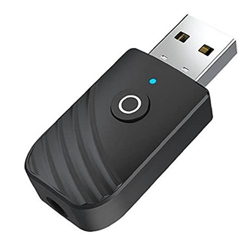 Trukorwuzi Transmisor USB Receptor 3IN1 Adaptador de Audio portátil inalámbrico para Dispositivos de Audio de 3.5 mm Equipos de Audio Negro
