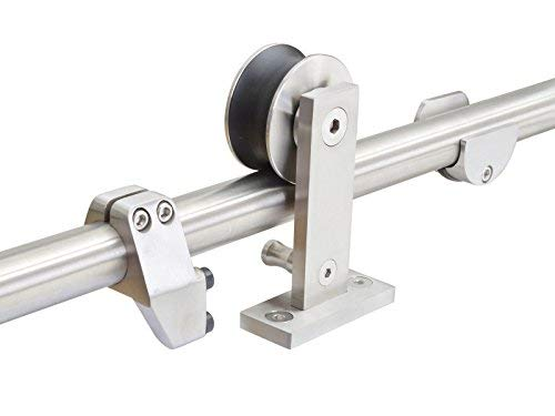 KINMADE YAMA Stainless Steel Sliding Barn Door Hardware Kit 8FT (2440mm) Track Single Door Kit