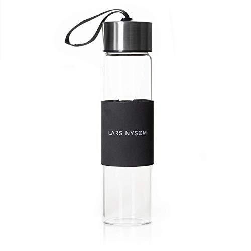 LARS NYSØM Glaswasserflasche I 400 ml Auslaufsichere Glasflasche BPA-frei mit rutschfester Hülle I 265 g Borosilikatglas-Getränkeflasche Ideal für Sportarten zu Hause und im Freien, Radfahren, Yoga, Auto, Fitnessstudio