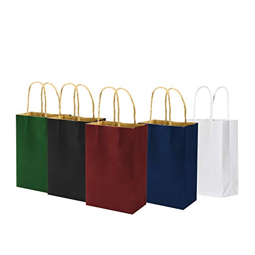 100 Pack Multicolor Small Color Gift Bags with Handles Bulk, 5.25x3.25x8 inch White/Black/Green/Blue/Red Each 20pcs, bagmad Kraft Party Favors Grocery Retail Shopping Craft Paper Bags (Multi Colored)