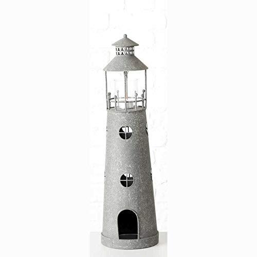 Windlicht Leuchtturm Metall Zink- Optik Teelichthalter Shabby Landhaus (Small)