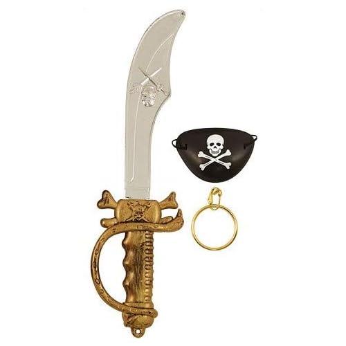 Spada Pirata 37,5 Centimetri Con Benda Sull'Occhio E Earing