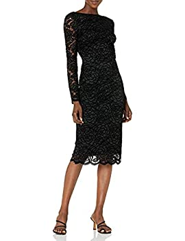 Dress the Population Women s Emery Long Sleeve Stretch Sequin Midi Sheath Black/Charcoal Lace X-Small