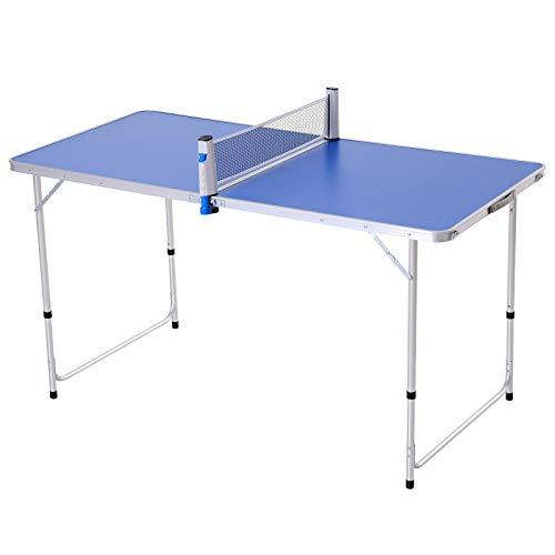 Outsunny Tavolo Pieghevole Multifunzione da Campeggio con Rete da Ping Pong, Altezza Regolabile, Blu (160x80x54/62/70cm)