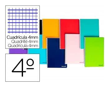 Cuaderno espiral liderpapel cuarto smart tapa blanda 80h 60gr cuadro 4mm con margen colores surtidos
