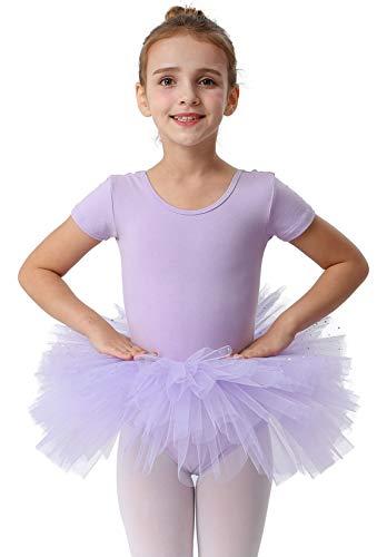 MdnMd Short Sleeve Glitter Dance Ballet Tutu Skirt Leotard Ballerina for Toddler Girls Dancewear (Purple, 2-4 Years)