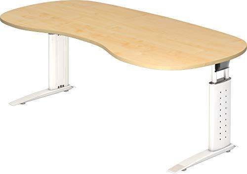 bümö® Schreibtisch höhenverstellbar 68-86 cm | Bürotisch mit Gestell in weiß | Büroschreibtisch | Tisch für's Büro & PC in Top Qualität - Nierenform: 200 x 100 cm, Ahorn
