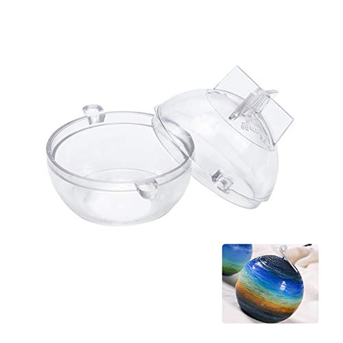 WANDIC Candle Molds, 1 Pc Plastic Sphere Round Ball Candle Moulds Candle DIY Mold for Church Christmas Candlelight Dinner Valentine's Day Home Decor