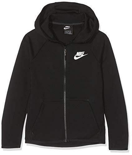 Nike Tech Fleece Full-Zip Essentials, Felpa Bambino, Black/White, XS