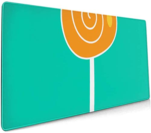 Long Mousepad (35.5x15.8in) Lollipop Icon Kids Desk Pad Keyboard Mat, Non-Slip Base, Water-Resistant, for Work & Gaming, Office & Home