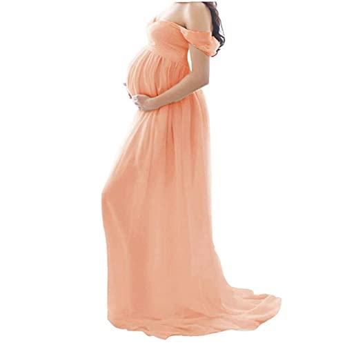 Aiyrchin Vestido de Maternidad Dama de Gasa Hombro Fotografía Vestido Maxi Vestido Que se arrastra Pregnants Rosa XL