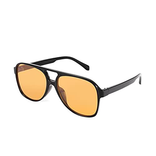 FEISEDY Vintage Retro 70s plástico aviador gafas de sol mujeres hombres clásico grande cuadrado marco B2751, Negro-Amarillo,