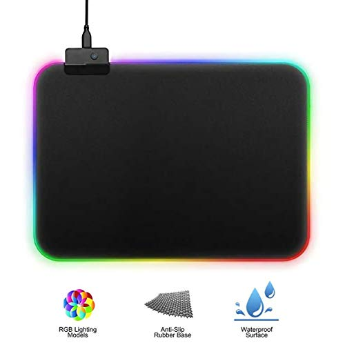 Gaming Mauspad mit RGB Beleuchtung, 7 LED Farben 14 Beleuchtungs-Modi USB Gaming Mouse Mat, Desk Anti Rutsch Matte für Computer, Professionelle Gamer (250 * 300)