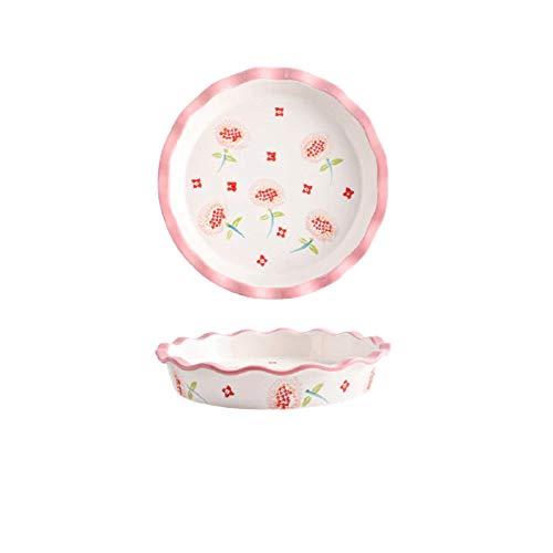 Ceramic Baking Dish 10inch Flowers Round Baking Pan Christmas Pie Pizza Pan Ceramic Glaze Baking Dish Kitchen Cooking Cake Dinner Banquet And Daily Kitchen Baking Tool Baking Dish (Pink)