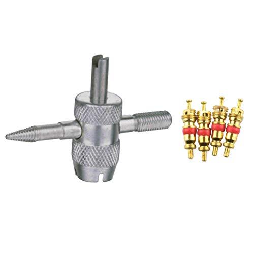 Vosarea 4 in 1 Reifenventilkern-Entferner-Schlüssel mit 4 Ventilkernen für Auto-Motorrad-Ersatz