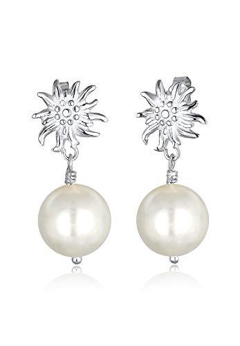 Elli Ohrringe Damen Ohrhänger Wiesn Tracht Edelweiss Perle Dirndl in 925 Sterling Silber
