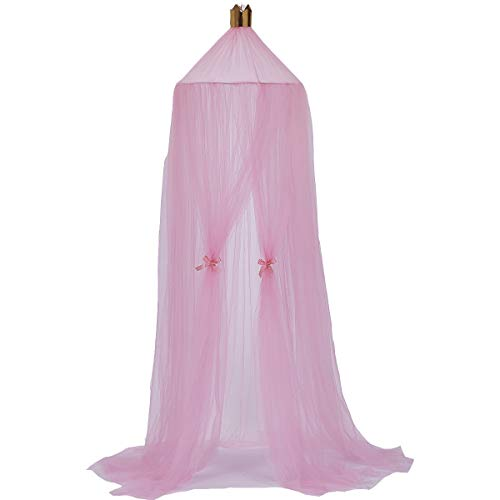 Children Bed Canopy Mosquito Net Round Hoop Dome Bed Luxury Princess Cotton and Lace Netting Decorations for Baby Kids Room (peach pink)