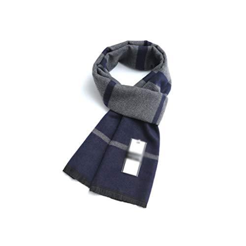 WPBOY Schal für Herren, groß, Herbst/Winter, weich, modisch, dick, lang, kariert, das beste Geschenk für Familie und Freunde (Farbe: Blaugrau)