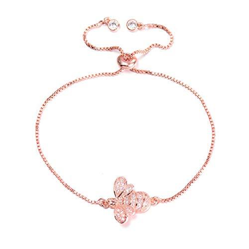 Jewellery Bracelets Bangle For Womens Fashion Cubic Zirconia Bracelet For Women Men Adjustable Slider Chain Bracelets Charm Jewelry Birthday Gift Rosegold