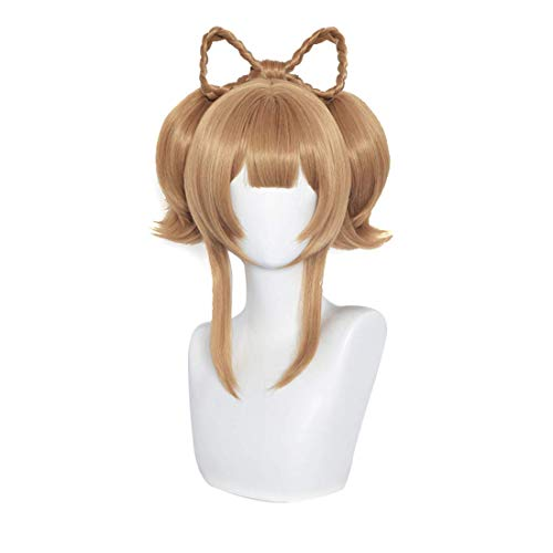Yaoyao Genshin Impact Cosplay peluca con flequillo clip en cola de caballo Halloween fiesta pelo marrón