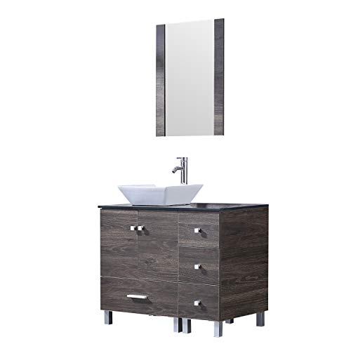 Sliverylake 36' Modern Bathroom Vanity Ceramic Vessel Square Sink Combo PVC Cover Cabinet Countertop Sink Bowl with Mirror Faucet Drain Set New