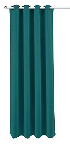 Verduisteringsgordijn voor huis en decoratie, ca. 140x245 cm oogjes gordijn halfdonker ondoorzichtig gordijn gemêleerd kleurkeuze modern ca. 140x245 cm petrol