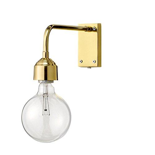 Bloomingville Wandleuchte H:13cm, gold mit Schalter am durchsichtigem Kabel ohne Leuchtmittel