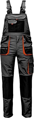 Stenso Des-Emerton - Pantalones con Peto de Trabajo para Hombre Slim fit - Gris/Negro/Naranja - 52
