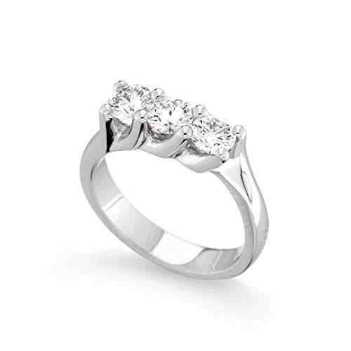 Scermino Gioielli Anello Trilogy in Oro Bianco : Diamanti Naturali G VS1 da 1 CARATO Certificato