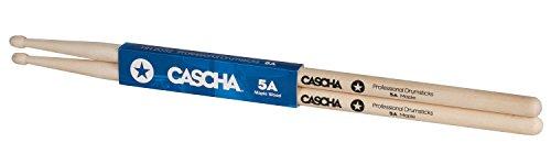 CASCHA Professional Schlagzeugsticks 5A robuste Ahorn Sticks I Trommelstöcke Holz I Profi Schlagzeug Zubehör I Drumsticks Maple I Schlagzeugstöcke I Trommelsticks Holzkopf Modell 1 Paar (2 Stück)