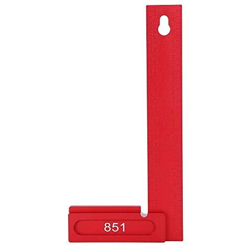 Lineal für die Holzbearbeitung, rechtwinklige Lineallehre aus 200 mm Aluminiumlegierung, 90-Grad-Zeichenwerkzeug für die Holzbearbeitung, für Automobil, Zimmerei, Bauwesen, Bohrmaschinen, Rot