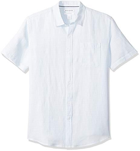 Amazon Essentials Men's Regular-Fit Short-Sleeve Linen Cotton Shirt, Light Blue Gingham, Large