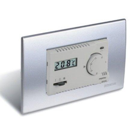 Termostato elettronico da incasso Perry 1TI TE312 MC serie MODULO con display e comando ON/OFF/ANTIGELO indicazione di stato relé inclusi 3 frontalini bianco grigio antracite Funzionamento ON/OFF con differenziale regolabile 0.3/0.5/0.7/0.9 °C Alimen 230V