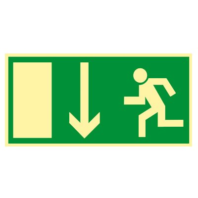 Rettungszeichen - Rettungsschild - Fluchtweg - Notausgang - Rettungsweg Kunststoff nachleuchtend selbstklebend 297 x 148 mm