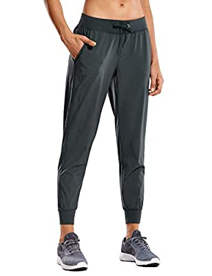 CRZ YOGA Women's Lightweight Joggers Pants with Pockets Drawstring Workout Running Pants with Elastic Waist Melanite Small