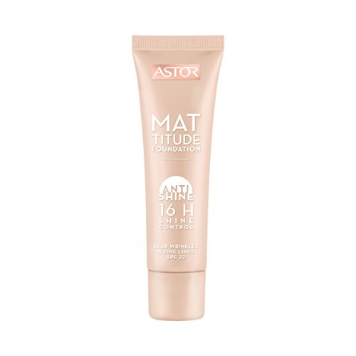 Astor Mattitude Anti Shine Foundation – Flüssig Make-up mit Anti Glanz Effekt, mattierender Wirkung und LSF 22 – Farbe Caramel 402 – 1 x 30 ml