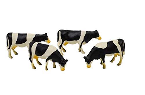 Kids Globe 571967 - Kühe schwarz/weiß 1:50, Bauernhof TiereŸ 4 Stück