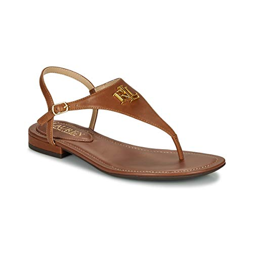 Ralph Lauren - Damen Sommerschuhe Leder Flip Flops Modell Ellington braun 802774600002 - Braun, 36 EU FP
