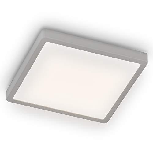 EGLO LED Deckenleuchte Molay, 1 flammige Aufbauleuchte Modern aus Stahl und Kunststoff, Deckenlampe in Silber, Weiß, LED Aufbaulampe warmweiß, L x B 28,5 cm, 75531, silber/weiss