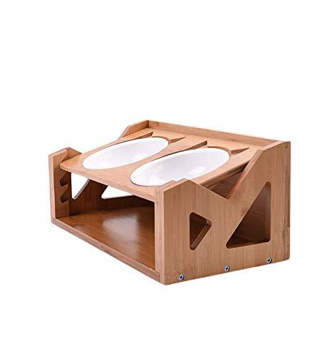 Futterstation Katze Hundebar Holz Höhenverstellbar Bambus Doppel-futternapf für Katze Kleine Große Mittlere Hunde 2 rostfreier Stahl Schüsseln