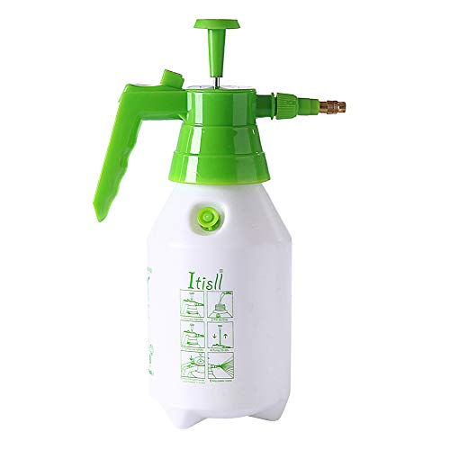 ITISLL 34 oz Manual Garden Sprayer with Safety Valve, Hand-held Lawn Pressure Pump Sprayer Bottle with Adjustable Nozzle, 1 liters (219NC1)
