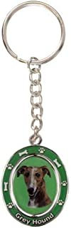 Greyhound, Brindle Key Chain Spinning Pet Key Chains Double Sided Spinning Center with Greyhounds Face Made of Heavy Quali...